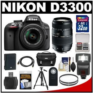 Nikon D3300 Digital SLR Camera & 18-55mm G VR DX II AF-S Zoom Lens (Black) with 70-300mm Lens + 32GB Card + Battery + Case + Filters + Flash + Tripod + Accessory Kit