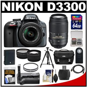Nikon D3300 Digital SLR Camera & 18-55mm G VR DX II AF-S Zoom Lens (Grey) with 55-300mm Vr Lens + 64GB Card + Battery + Case + Grip + Tele/Wide Lens Kit