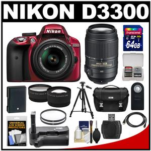 Nikon D3300 Digital SLR Camera & 18-55mm G VR DX II AF-S Zoom Lens (Red) with 55-300mm VR Lens + 64GB Card + Battery + Case + Grip + Tele/Wide Lens Kit