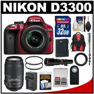Nikon D3300 Digital SLR Camera & 18-55mm G VR DX II AF-S Zoom Lens (Red) with 55-300mm & 500mm Lenses + 32GB Card + Backpack + Battery & Charger + Monopod Kit