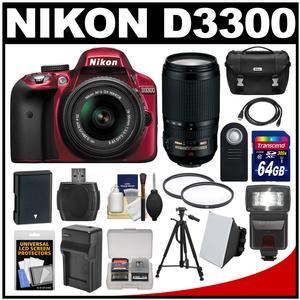 Nikon D3300 Digital SLR Camera & 18-55mm G VR DX II AF-S Zoom Lens (Red) with 70-300mm VR Lens + 64GB Card + Case + Flash + Battery & Charger + Tripod Kit