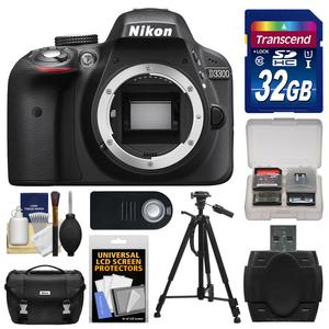 Nikon D3300 Digital SLR Camera Body (Black) - Factory Refurbished with 32GB Card + Case + Tripod + Remote + Accessory Kit