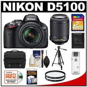 Nikon D5100 Digital SLR Camera & 18-55mm G VR DX AF-S Zoom Lens - Factory Refurbished with Nikon 55-200mm VR Zoom Lens + 16GB Card + Tripod + Case + 2 Filters + Accessory Kit