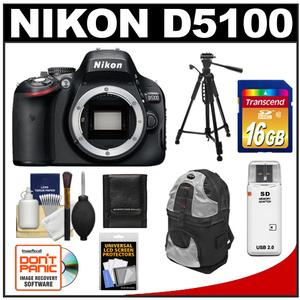 Nikon D5100 Digital SLR Camera Body - Factory Refurbished with 16GB Card + Tripod + Sling Backpack + Accessory Kit