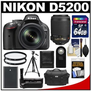 Nikon D5200 Camera + 18-105 VR DX AF-S Lens  + 55-200 VR Lens + 64GB Card + Case + Battery + Grip + Tripod + Filters + Remote Kit at Sears.com