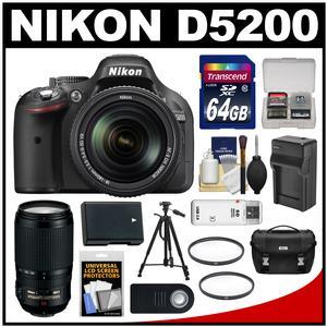 Nikon D5200 Digital SLR Camera & 18-140mm VR DX AF-S Lens (Black) with 70-300mm VR Lens + 64GB Card + Case + Battery/Charger + Tripod + Filters Kit