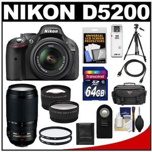 Nikon D5200 Digital SLR Camera & 18-55mm G VR DX AF-S Zoom Lens (Black) with 70-300mm VR Lens + 64GB Card + Case + 2 Filters + Tele/Wide Lenses + Tripod Kit