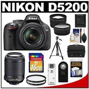 Nikon D5200 Digital SLR Camera & 18-55mm G VR DX AF-S Zoom Lens (Black) with 55-200mm VR Lens + 16GB Card + Case + Filters + Tele/Wide Lens + Tripod + Remote Kit