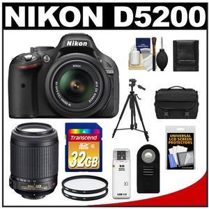 Nikon D5200 Digital SLR Camera & 18-55mm G VR DX AF-S Zoom Lens (Black) with 55-200mm VR Lens + 32GB Card + Case + Filters + Remote + Tripod + Accessory Kit