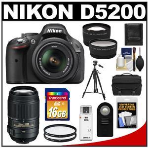 Nikon D5200 Digital SLR Camera & 18-55mm G VR DX AF-S Zoom Lens (Black) with 55-300mm VR Lens + 16GB Card + Case + Filters + Tele/Wide Lens + Tripod + Remote Kit
