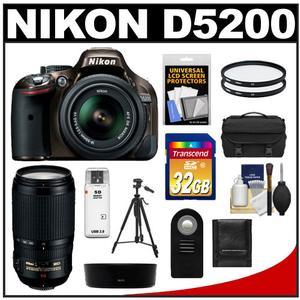 Nikon D5200 Digital SLR Camera & 18-55mm G VR DX AF-S Zoom Lens (Bronze) with 70-300mm VR Lens + 32GB Card + Case + Filters + Remote + Tripod + Accessory Kit