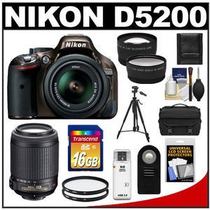 Nikon D5200 Digital SLR Camera & 18-55mm G VR DX AF-S Zoom Lens (Bronze) with 55-200mm VR Lens + 16GB Card + Case + Filters + Tele/Wide Lens + Tripod + Remote Kit