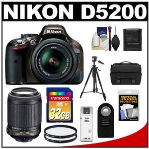 Nikon D5200 Digital SLR Camera & 18-55mm G VR DX AF-S Zoom Lens (Bronze) with 55-200mm VR Lens + 32GB Card + Case + Filters + Remote + Tripod + Accessory Kit
