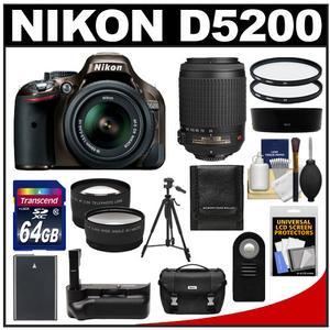 Nikon D5200 Digital SLR Camera & 18-55mm G VR DX AF-S Zoom Lens (Bronze) with 55-200mm VR Lens + 64GB Card + Case + Grip & Battery + Tripod + Tele/Wide Lenses Kit