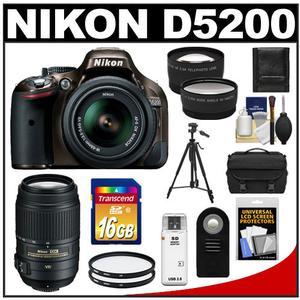 Nikon D5200 Digital SLR Camera & 18-55mm G VR DX AF-S Zoom Lens (Bronze) with 55-300mm VR Lens + 16GB Card + Case + Filters + Tele/Wide Lens + Tripod + Remote Kit