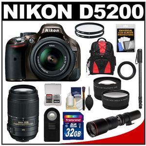 Nikon D5200 Digital SLR Camera & 18-55mm G VR DX AF-S Zoom Lens (Bronze) with 55-300mm VR & 500mm Telephoto Lens + 32GB Card + Backpack + 2 Lenses + Monopod Kit