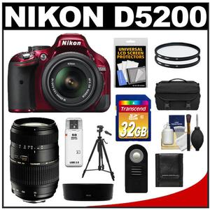 Nikon D5200 Digital SLR Camera & 18-55mm G VR DX AF-S Zoom Lens (Red) with Tamron 70-300mm Lens + 32GB Card + Case + Filters + Remote + Tripod + Accessory Kit