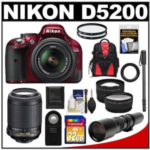 Nikon D5200 Digital SLR Camera & 18-55mm G VR DX AF-S Zoom Lens (Red) with 55-200mm VR & 500mm Tele Lens + 32GB Card + Backpack + 2 Lenses + Monopod Kit