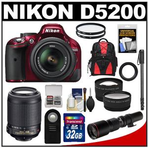 Nikon D5200 Digital SLR Camera & 18-55mm G VR DX AF-S Zoom Lens (Red) with 55-200mm VR & 500mm Tele Lens + 32GB Card + Backpack + 2 Lenses + Monopod Kit