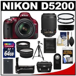 Nikon D5200 Digital SLR Camera & 18-55mm G VR DX AF-S Zoom Lens (Red) with 55-200mm VR Lens + 64GB Card + Case + Grip & Battery + Tripod + Tele/Wide Lenses Kit