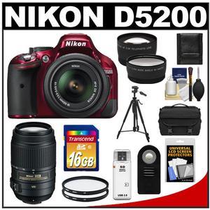 Nikon D5200 Digital SLR Camera & 18-55mm G VR DX AF-S Zoom Lens (Red) with 55-300mm VR Lens + 16GB Card + Case + Filters + Tele/Wide Lens + Tripod + Remote Kit
