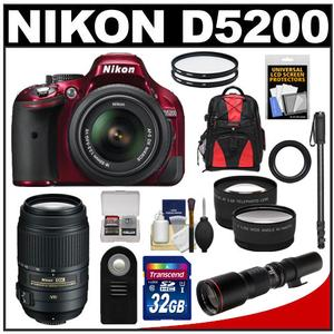 Nikon D5200 Digital SLR Camera & 18-55mm G VR DX AF-S Zoom Lens (Red) with 55-300mm VR & 500mm Telephoto Lens + 32GB Card + Backpack + 2 Lenses + Monopod Kit