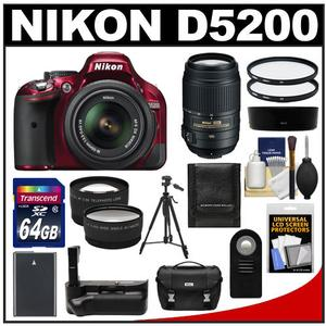 Nikon D5200 Digital SLR Camera & 18-55mm G VR DX AF-S Zoom Lens (Red) with 55-300mm VR Lens + 64GB Card + Case + Grip & Battery + Tripod + Tele/Wide Lenses Kit