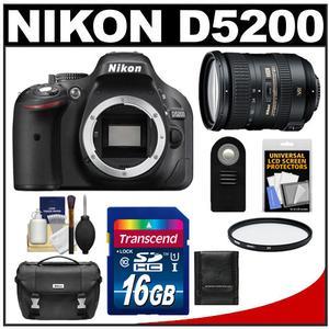 Nikon D5200 Digital SLR Camera Body (Black) with 18-200mm VR II Zoom Lens + 16GB Card + Case + Filter + Remote + Accessory Kit