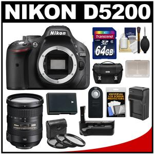 Nikon D5200 Digital SLR Camera Body (Black) with 18-200mm VR II Zoom Lens + 64GB Card + Case + Grip + Battery/Charger + Filters Kit
