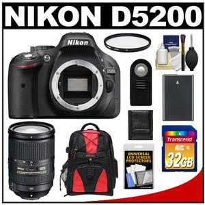 Nikon D5200 Digital SLR Camera Body (Black) with 18-300mm VR Zoom Lens + 32GB Card + Battery + Backpack + Filter + Accessory Kit