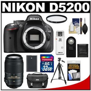 Nikon D5200 Digital SLR Camera Body (Black) with 55-300mm VR Zoom Lens + 32GB Card + Case + Battery + Filter + Tripod + Accessory Kit