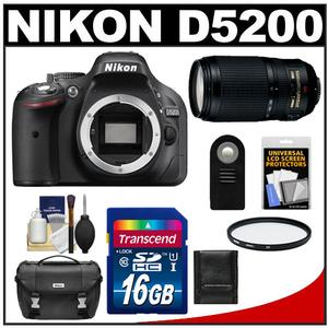 Nikon D5200 Digital SLR Camera Body (Black) with 70-300mm VR Zoom Lens + 16GB Card + Case + Filter + Remote + Accessory Kit