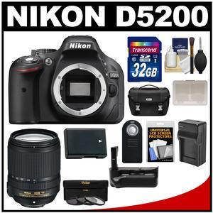 Nikon D5200 Digital SLR Camera Body (Black) with 18-140mm VR Lens + 32GB Card + Case + Grip + Battery/Charger + Remote + Filter Kit