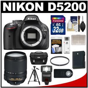 Nikon D5200 Digital SLR Camera Body (Black) with 18-140mm VR Lens + 32GB Card + Case + Flash + Battery + Filter + Tripod Kit
