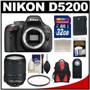 Nikon D5200 Digital SLR Camera Body (Black) with 18-140mm VR Lens + 32GB Card + Backpack + Battery + Filter + Remote + Kit