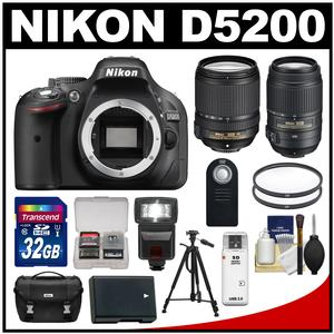 Nikon D5200 Digital SLR Camera Body (Black) with 18-140mm & 55-300mm VR Lens + 32GB Card + Case + Flash + Battery + Tripod Kit