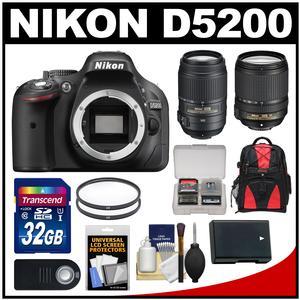 Nikon D5200 Digital SLR Camera Body (Black) with 18-140mm & 55-300mm VR Lens + 32GB Card + Backpack + Battery + Kit