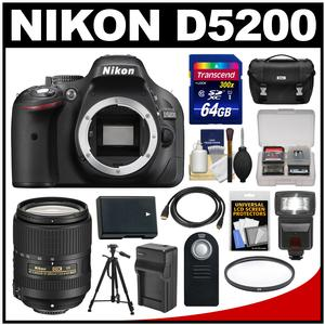 Nikon D5200 Digital SLR Camera Body (Black) with 18-300mm VR Lens + 64GB Card + Case + Flash + Battery/Charger + Tripod Kit