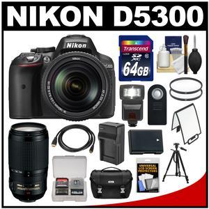 Nikon D5300 Digital SLR Camera & 18-140mm VR DX AF-S Lens (Black) with 70-300mm VR Lens + 64GB Card + Case + Flash + Battery/Charger + Tripod Kit