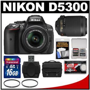 Nikon D5300 Digital SLR Camera & 18-55mm VR DX II AF-S Lens (Black) - Factory Refurbished with 55-200mm VR Zoom Lens + 16GB Card + Case + Filters + Kit