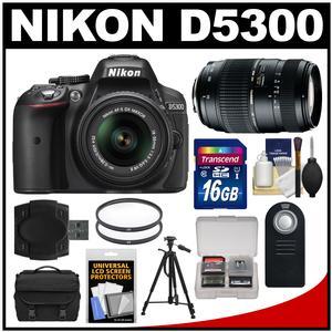 Nikon D5300 Digital SLR Camera & 18-55mm VR DX II AF-S Lens (Black) - Factory Refurbished with Tamron 70-300mm Di Zoom Lens + 16GB Card + Case + Tripod + Accessory Kit