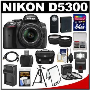 Nikon D5300 Digital SLR Camera & 18-55mm G VR DX II AF-S Zoom Lens (Black) with 64GB Card + Battery + Charger + Case + Tripod + Flash + Tele/Wide Lens Kit