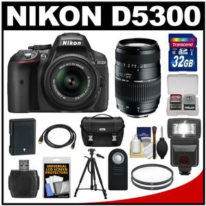 Nikon D5300 Digital SLR Camera & 18-55mm G VR DX II AF-S Zoom Lens (Black) with 70-300mm Lens + 32GB Card + Battery + Case + Filters + Flash + Tripod + Accessory Kit