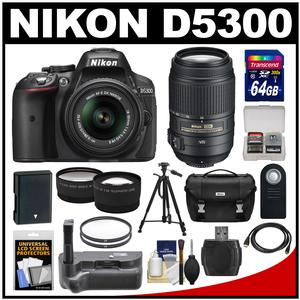 Nikon D5300 Digital SLR Camera & 18-55mm G VR DX II AF-S Zoom Lens (Black) with 55-300mm VR Lens + 64GB Card + Battery + Case + Grip + Tele/Wide Lens Kit