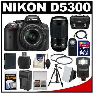 Nikon D5300 Digital SLR Camera & 18-55mm G VR DX II AF-S Zoom Lens (Black) with 70-300mm VR Lens + 64GB Card + Battery & Charger + Case + Flash + Tripod + Kit