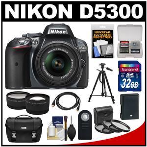 Nikon D5300 Digital SLR Camera & 18-55mm G VR DX II AF-S Zoom Lens (Grey) with 32GB Card + Battery + Case + Tripod + Tele/Wide Lens Kit