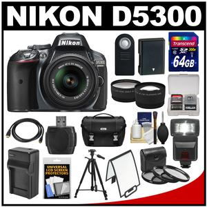 Nikon D5300 Digital SLR Camera & 18-55mm G VR DX II AF-S Zoom Lens (Grey) with 64GB Card + Battery + Charger + Case + Tripod + Flash + Tele/Wide Lens Kit
