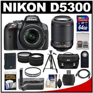 Nikon D5300 Digital SLR Camera & 18-55mm G VR DX II AF-S Zoom Lens (Grey) with 55-200mm VR Lens + 64GB Card + Battery + Case + Grip + Tele/Wide Lens Kit