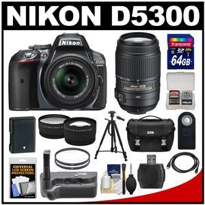 Nikon D5300 Digital SLR Camera & 18-55mm G VR DX II AF-S Zoom Lens (Grey) with 55-300mm VR Lens + 64GB Card + Battery + Case + Grip + Tele/Wide Lens Kit