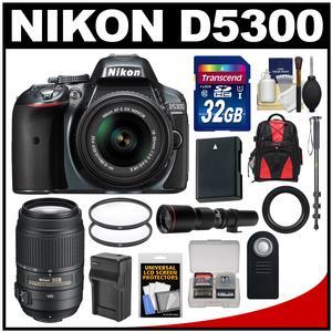 Nikon D5300 Digital SLR Camera & 18-55mm G VR DX II AF-S Zoom Lens (Grey) with 55-300mm & 500mm Lenses + 32GB Card + Backpack + Battery & Charger + Monopod Kit